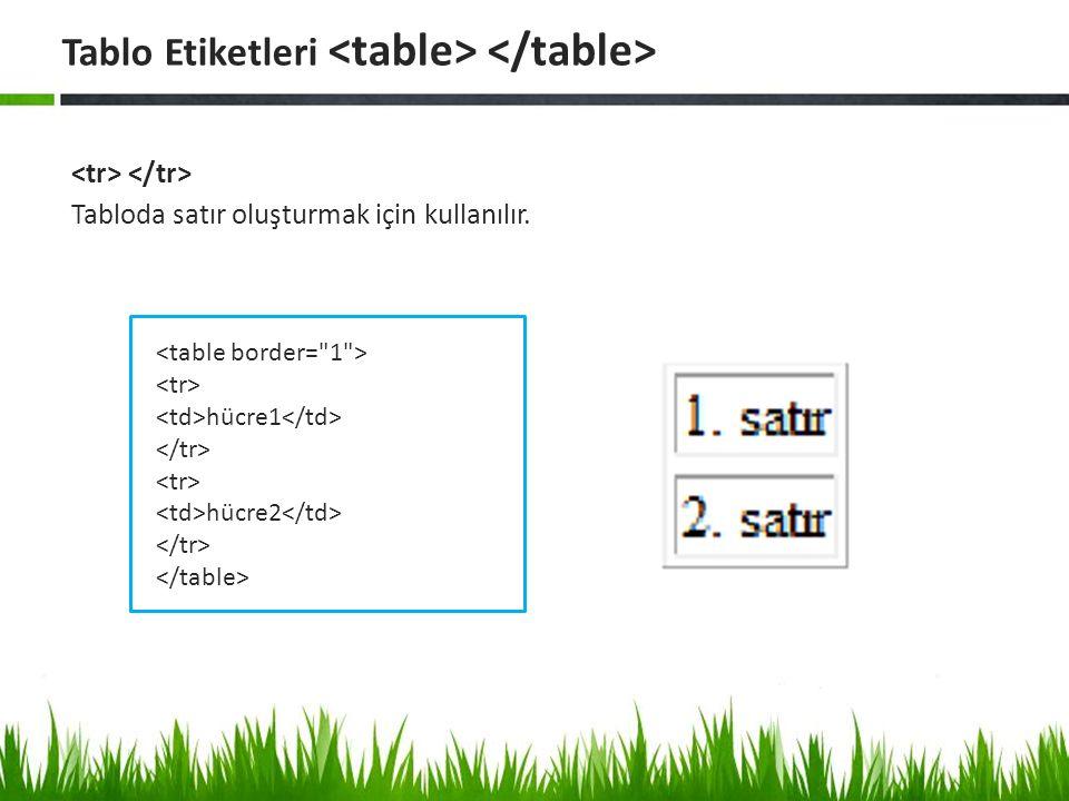 Tabloda satır oluşturmak için kullanılır. Tablo Etiketleri hücre1 hücre2