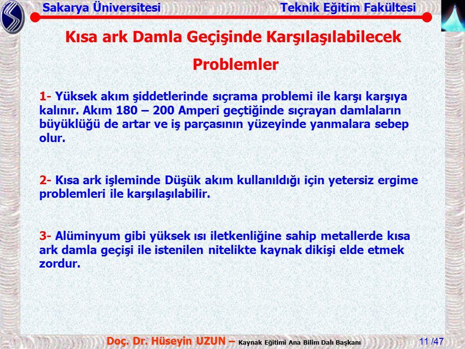Sakarya Üniversitesi Teknik Eğitim Fakültesi /47 Doç. Dr. Hüseyin UZUN – Kaynak Eğitimi Ana Bilim Dalı Başkanı 11 1- Yüksek akım şiddetlerinde sıçrama