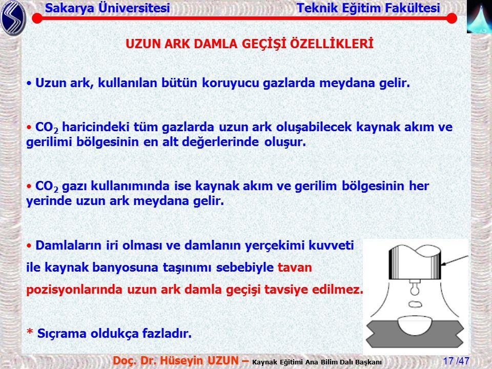 Sakarya Üniversitesi Teknik Eğitim Fakültesi /47 Doç. Dr. Hüseyin UZUN – Kaynak Eğitimi Ana Bilim Dalı Başkanı 17 Uzun ark, kullanılan bütün koruyucu