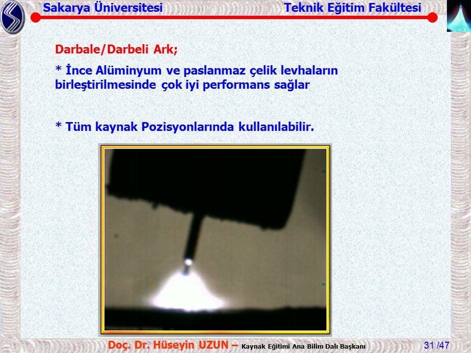 Sakarya Üniversitesi Teknik Eğitim Fakültesi /47 Doç. Dr. Hüseyin UZUN – Kaynak Eğitimi Ana Bilim Dalı Başkanı 31 Darbale/Darbeli Ark; * İnce Alüminyu