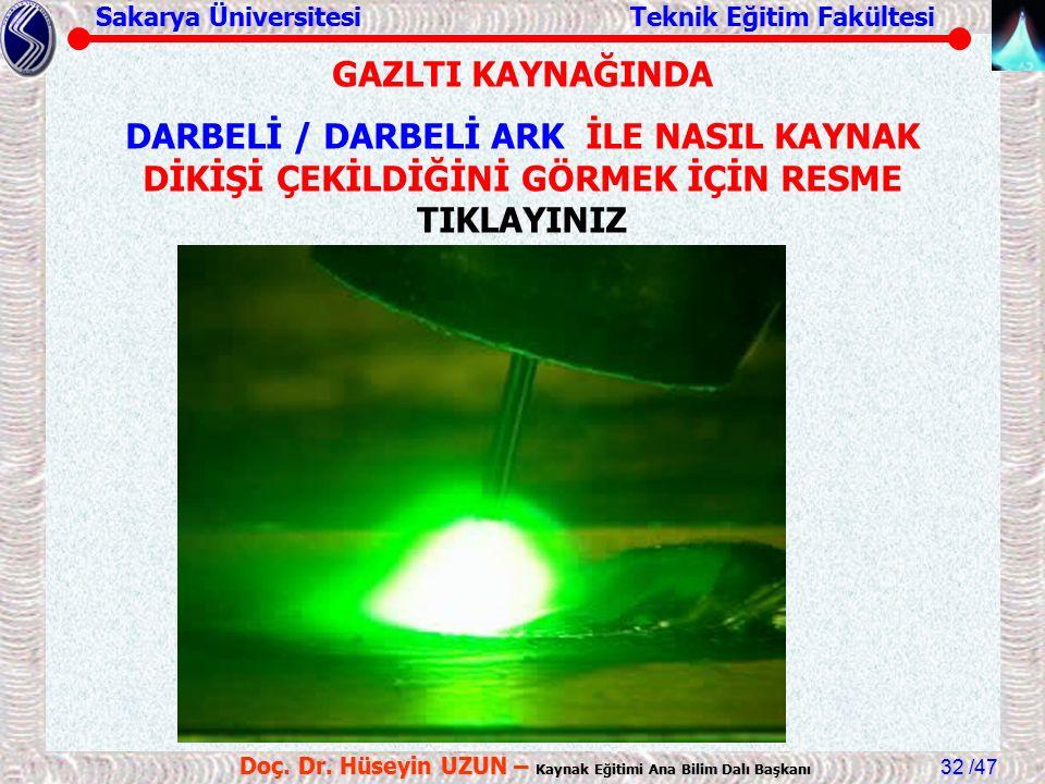 Sakarya Üniversitesi Teknik Eğitim Fakültesi /47 Doç. Dr. Hüseyin UZUN – Kaynak Eğitimi Ana Bilim Dalı Başkanı 32 GAZLTI KAYNAĞINDA DARBELİ / DARBELİ