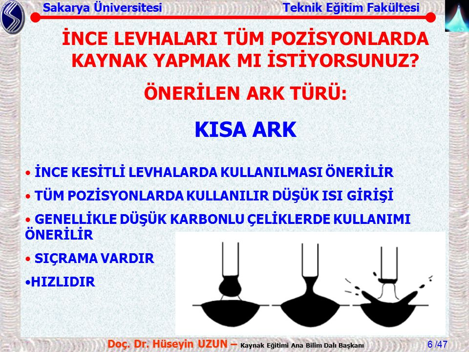 Sakarya Üniversitesi Teknik Eğitim Fakültesi /47 Doç. Dr. Hüseyin UZUN – Kaynak Eğitimi Ana Bilim Dalı Başkanı 6 İNCE KESİTLİ LEVHALARDA KULLANILMASI