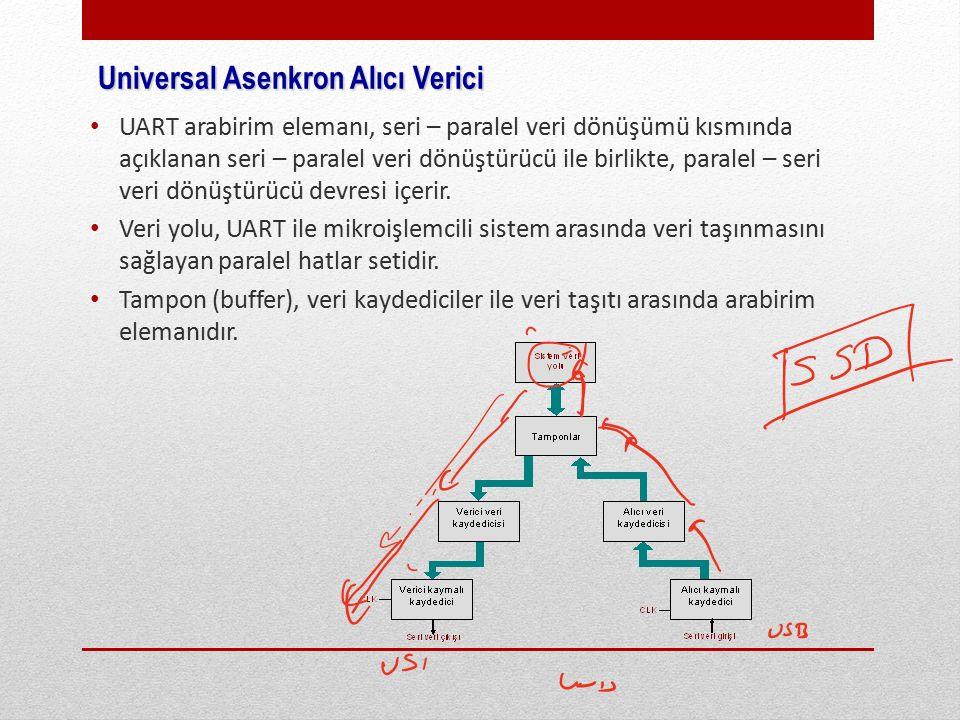 Universal Asenkron Alıcı Verici UART arabirim elemanı, seri – paralel veri dönüşümü kısmında açıklanan seri – paralel veri dönüştürücü ile birlikte, paralel – seri veri dönüştürücü devresi içerir.