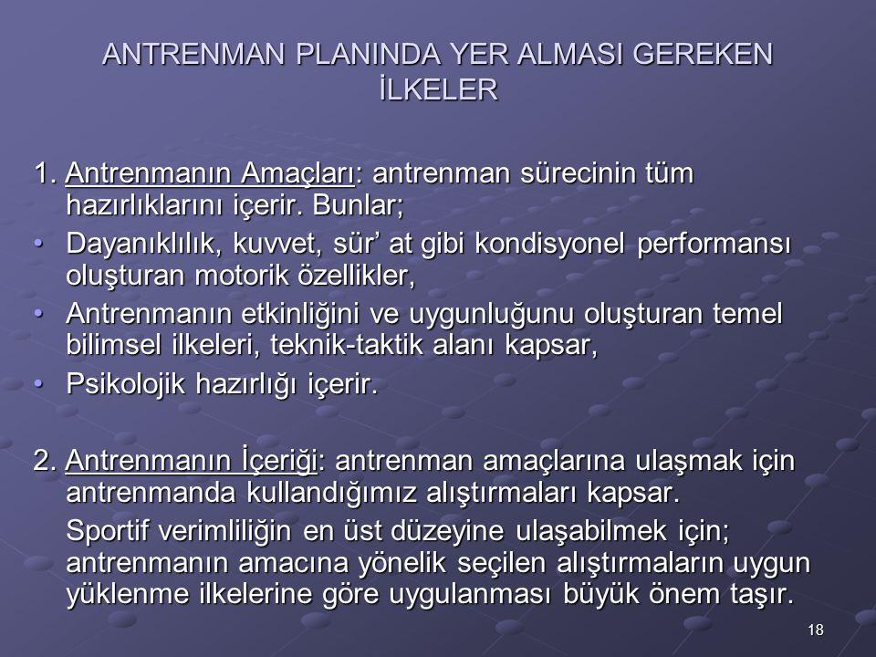 18 ANTRENMAN PLANINDA YER ALMASI GEREKEN İLKELER 1.