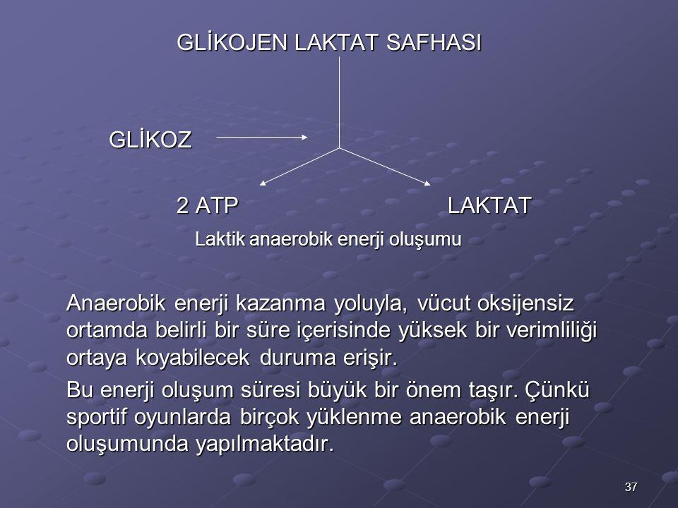 37 GLİKOJEN LAKTAT SAFHASI GLİKOZ 2 ATPLAKTAT Laktik anaerobik enerji oluşumu Laktik anaerobik enerji oluşumu Anaerobik enerji kazanma yoluyla, vücut oksijensiz ortamda belirli bir süre içerisinde yüksek bir verimliliği ortaya koyabilecek duruma erişir.