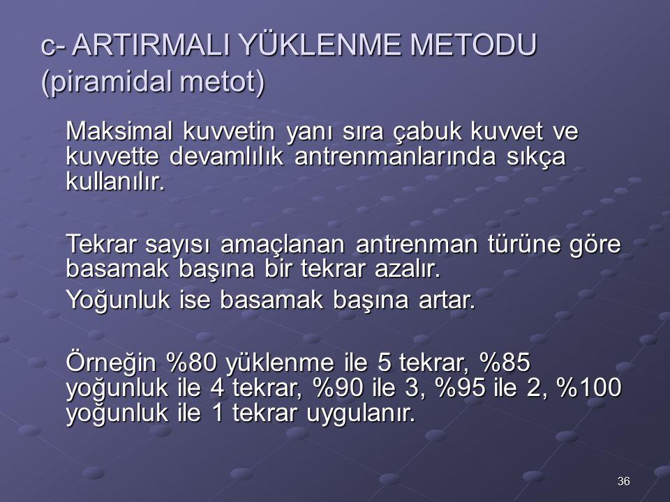 36 c- ARTIRMALI YÜKLENME METODU (piramidal metot) Maksimal kuvvetin yanı sıra çabuk kuvvet ve kuvvette devamlılık antrenmanlarında sıkça kullanılır. T