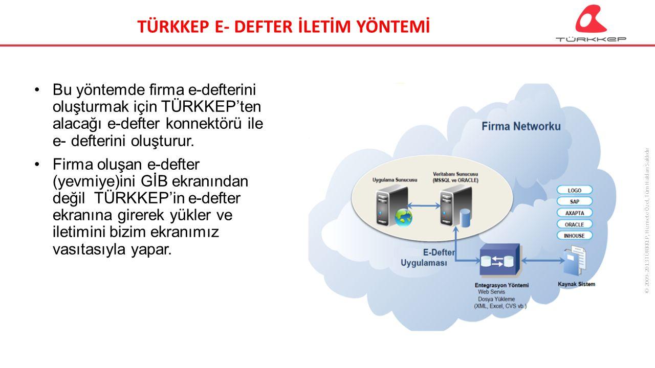 © 2009-2013 TÜRKKEP, Hizmete Özel, Tüm Hakları Saklıdır Bu yöntemde firma e-defterini oluşturmak için TÜRKKEP'ten alacağı e-defter konnektörü ile e- defterini oluşturur.