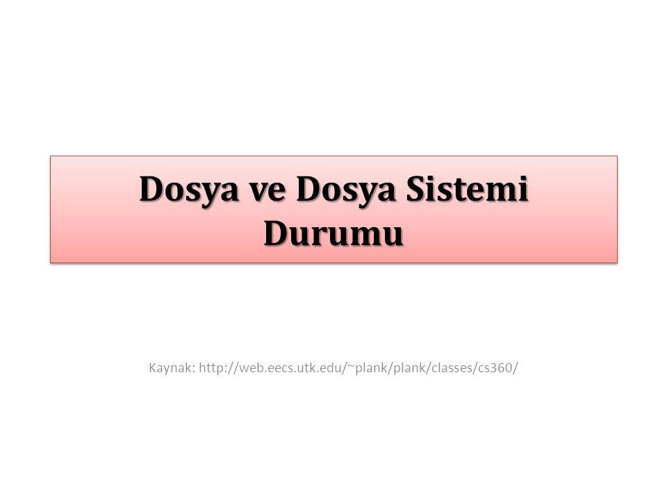Dosya ve Dosya Sistemi Durumu Kaynak: http://web.eecs.utk.edu/~plank/plank/classes/cs360/