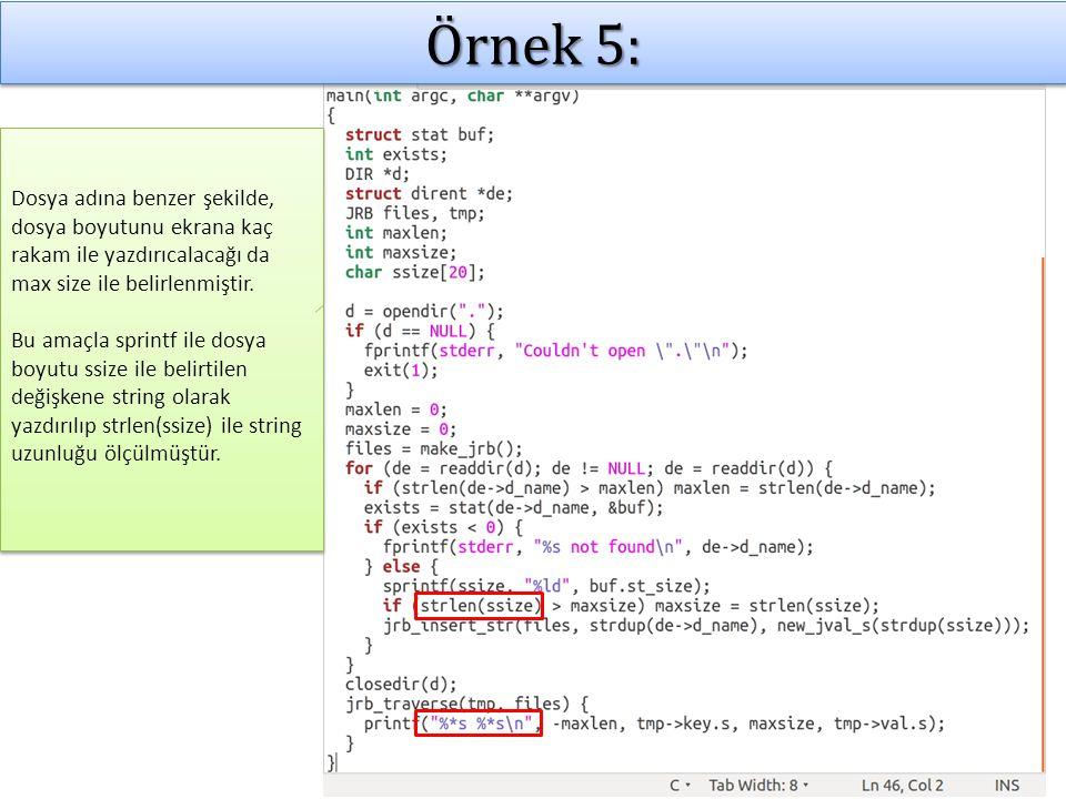 Örnek 5: Dosya adına benzer şekilde, dosya boyutunu ekrana kaç rakam ile yazdırıcalacağı da max size ile belirlenmiştir.