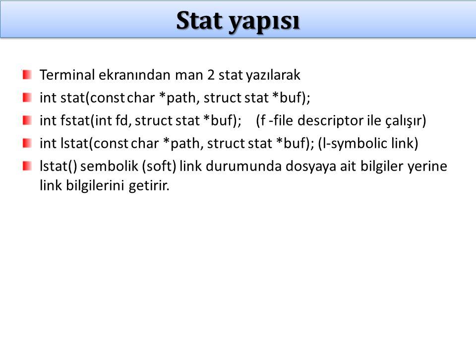 Örnek 1: Dosya boyutu ölçen program Komut satırı parametresi olarak belirtilen dosyalardan sıradakini aç Dosyanın sonua kadar gidip karakterleri sayar.