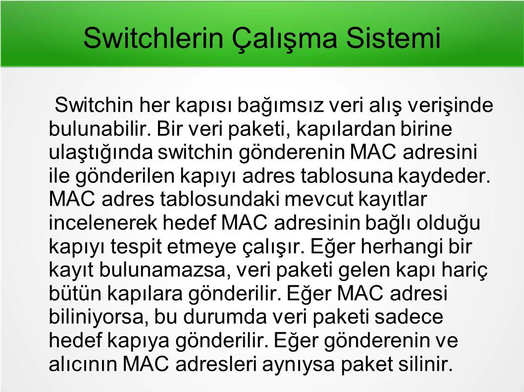 Switchlerin Çalışma Sistemi Switchin her kapısı bağımsız veri alış verişinde bulunabilir.