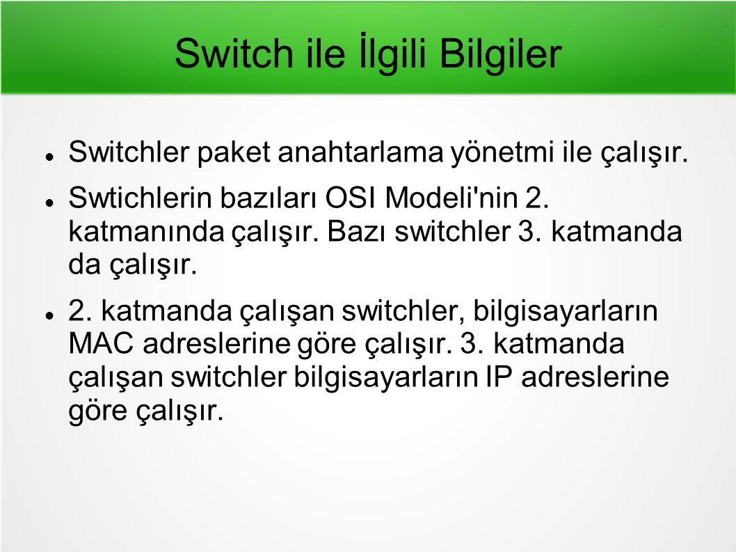 Switch ile İlgili Bilgiler Switchler paket anahtarlama yönetmi ile çalışır.