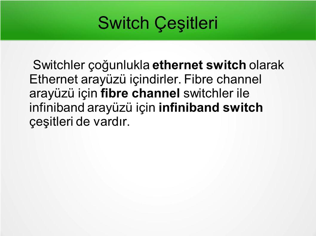 Switch Çeşitleri Switchler çoğunlukla ethernet switch olarak Ethernet arayüzü içindirler.