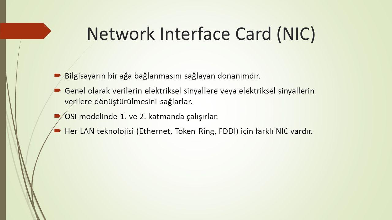 Network Interface Card (NIC)  Bilgisayarın bir ağa bağlanmasını sağlayan donanımdır.  Genel olarak verilerin elektriksel sinyallere veya elektriksel