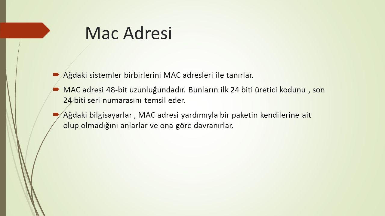 Mac Adresi  Ağdaki sistemler birbirlerini MAC adresleri ile tanırlar.  MAC adresi 48-bit uzunluğundadır. Bunların ilk 24 biti üretici kodunu, son 24