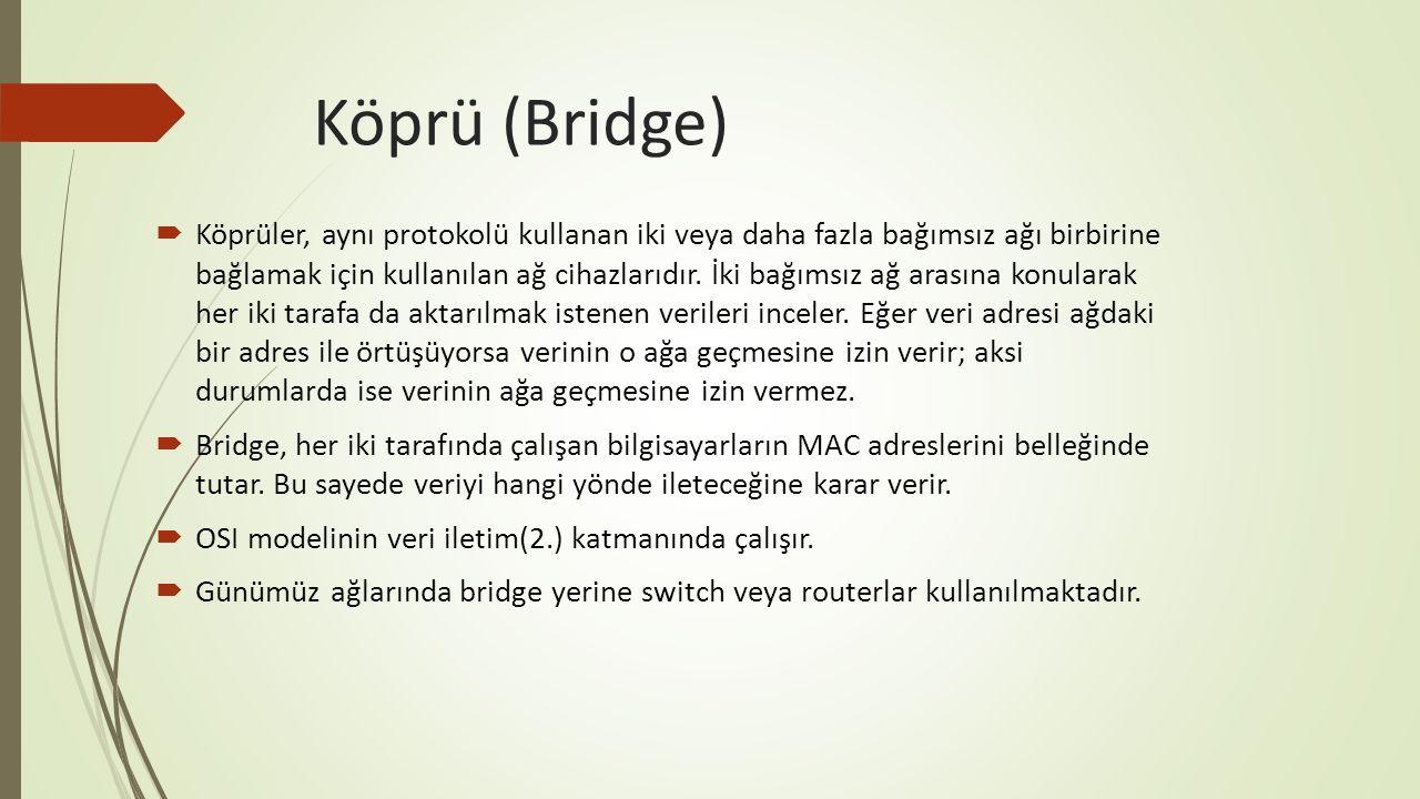 Köprü (Bridge)  Köprüler, aynı protokolü kullanan iki veya daha fazla bağımsız ağı birbirine bağlamak için kullanılan ağ cihazlarıdır. İki bağımsız a