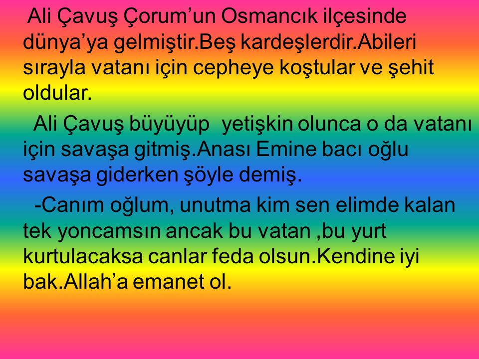 Ali Çavuş Çorum'un Osmancık ilçesinde dünya'ya gelmiştir.Beş kardeşlerdir.Abileri sırayla vatanı için cepheye koştular ve şehit oldular.