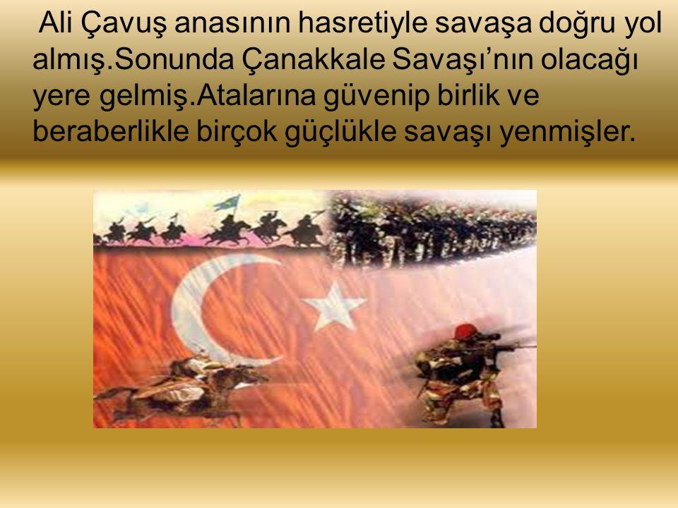 Ali Çavuş anasının hasretiyle savaşa doğru yol almış.Sonunda Çanakkale Savaşı'nın olacağı yere gelmiş.Atalarına güvenip birlik ve beraberlikle birçok güçlükle savaşı yenmişler.
