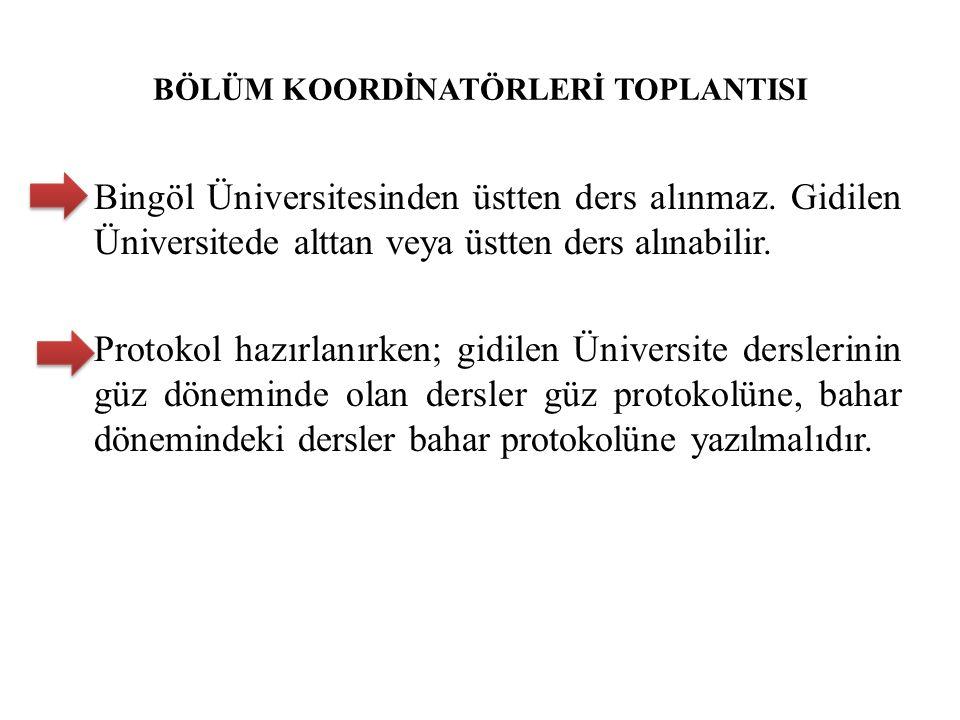 BÖLÜM KOORDİNATÖRLERİ TOPLANTISI Bingöl Üniversitesinden üstten ders alınmaz. Gidilen Üniversitede alttan veya üstten ders alınabilir. Protokol hazırl