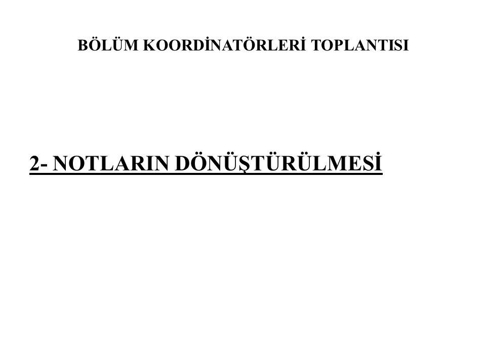BÖLÜM KOORDİNATÖRLERİ TOPLANTISI 2- NOTLARIN DÖNÜŞTÜRÜLMESİ