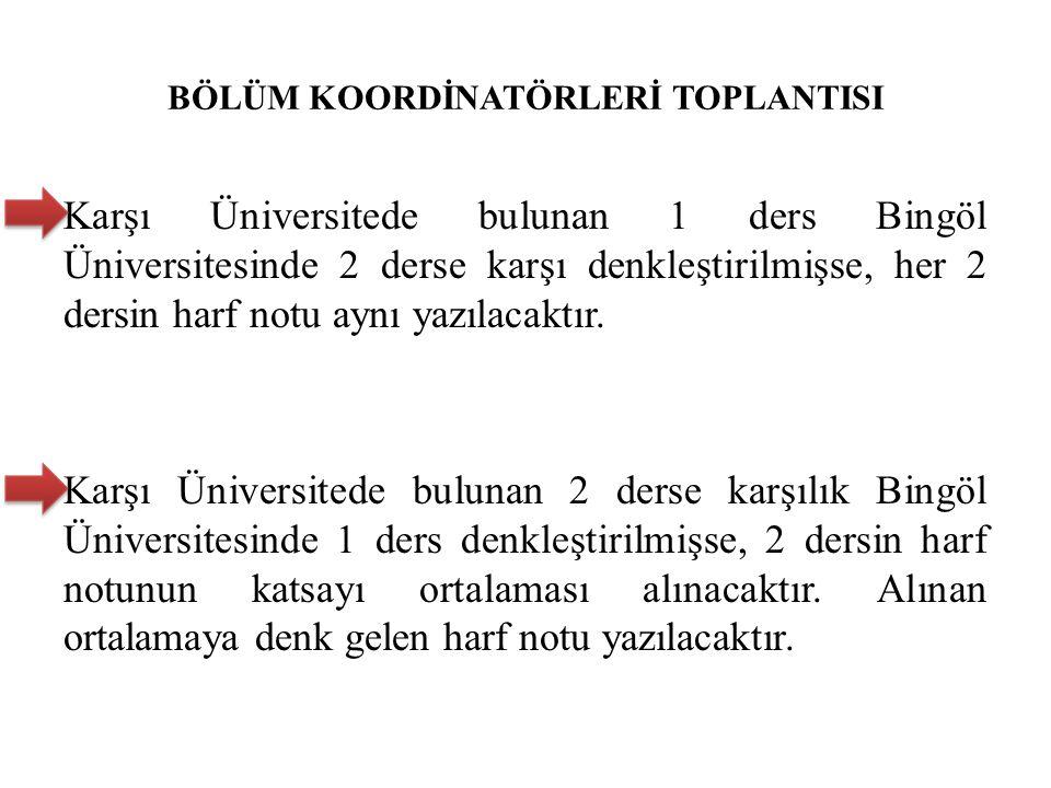 BÖLÜM KOORDİNATÖRLERİ TOPLANTISI Karşı Üniversitede bulunan 1 ders Bingöl Üniversitesinde 2 derse karşı denkleştirilmişse, her 2 dersin harf notu aynı