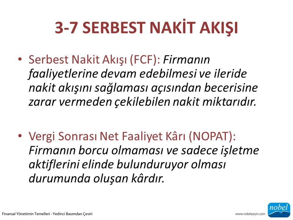 3-7 SERBEST NAKİT AKIŞI Serbest Nakit Akışı (FCF): Firmanın faaliyetlerine devam edebilmesi ve ileride nakit akışını sağlaması açısından becerisine zarar vermeden çekilebilen nakit miktarıdır.