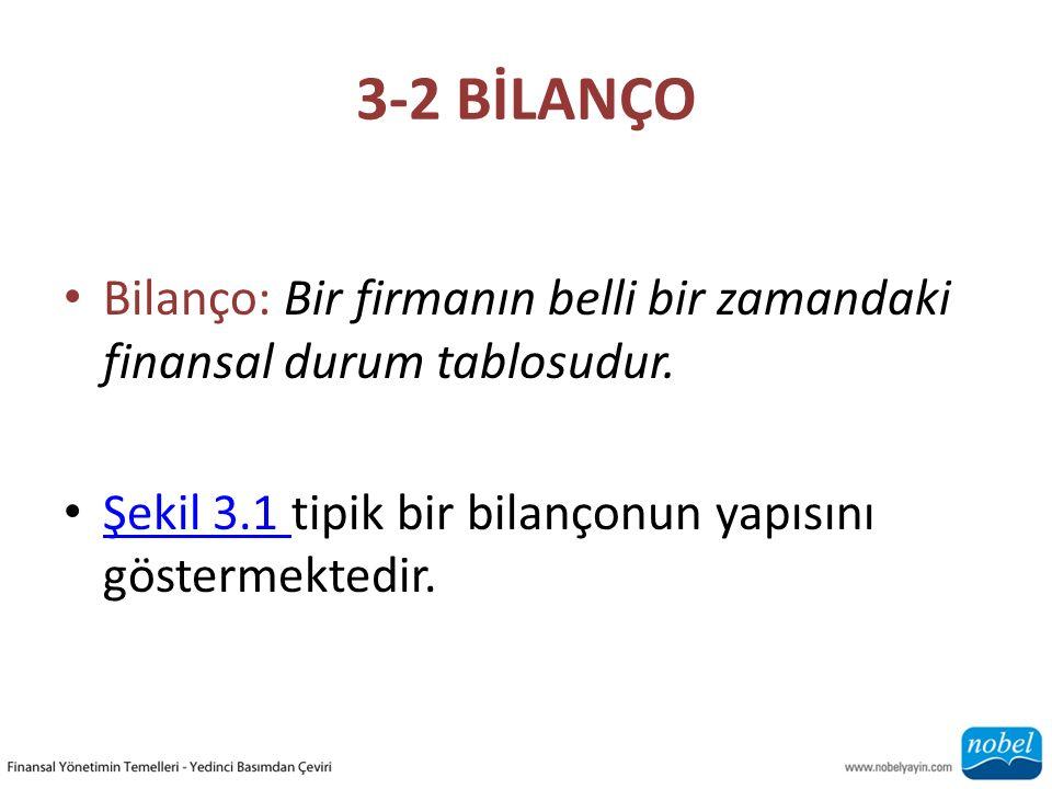 3-2 BİLANÇO Bilanço: Bir firmanın belli bir zamandaki finansal durum tablosudur. Şekil 3.1 tipik bir bilançonun yapısını göstermektedir. Şekil 3.1