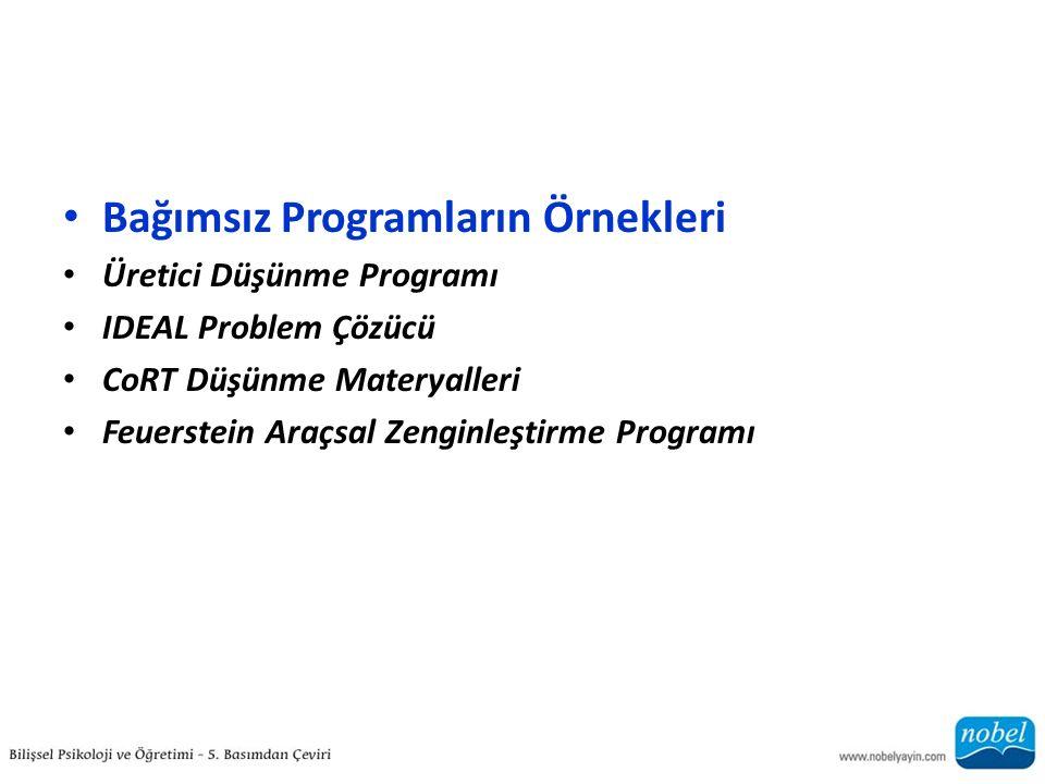Bağımsız Programların Örnekleri Üretici Düşünme Programı IDEAL Problem Çözücü CoRT Düşünme Materyalleri Feuerstein Araçsal Zenginleştirme Programı