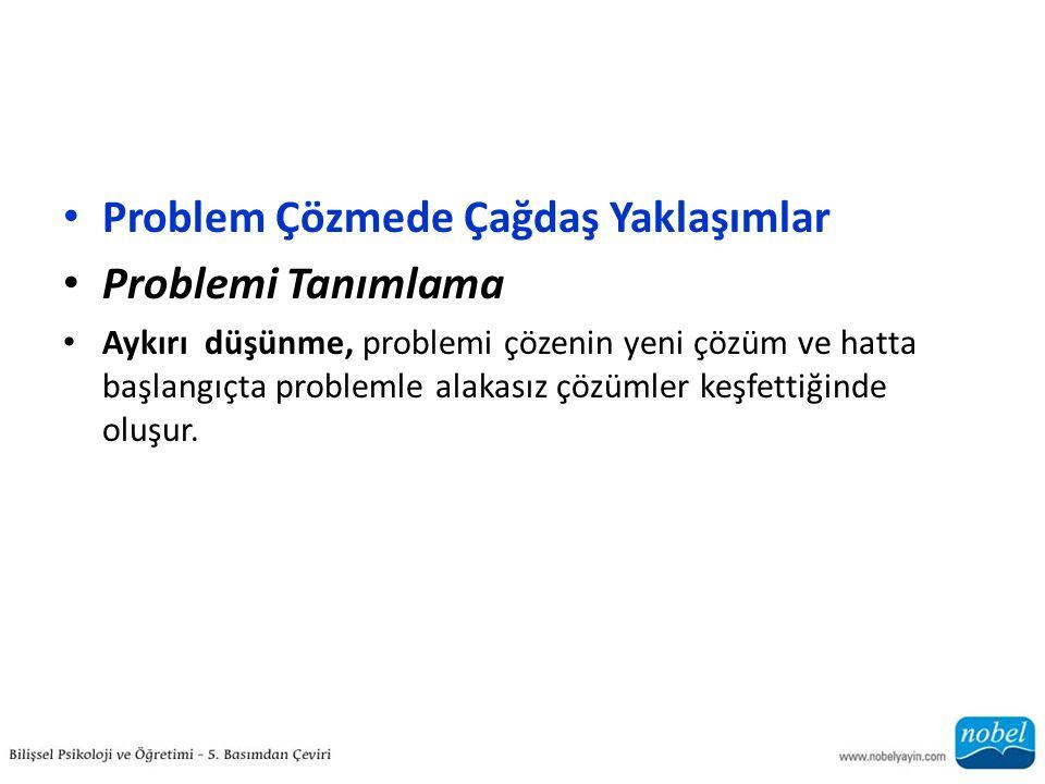 Problem Çözmede Çağdaş Yaklaşımlar Problemi Tanımlama Aykırı düşünme, problemi çözenin yeni çözüm ve hatta başlangıçta problemle alakasız çözümler keşfettiğinde oluşur.