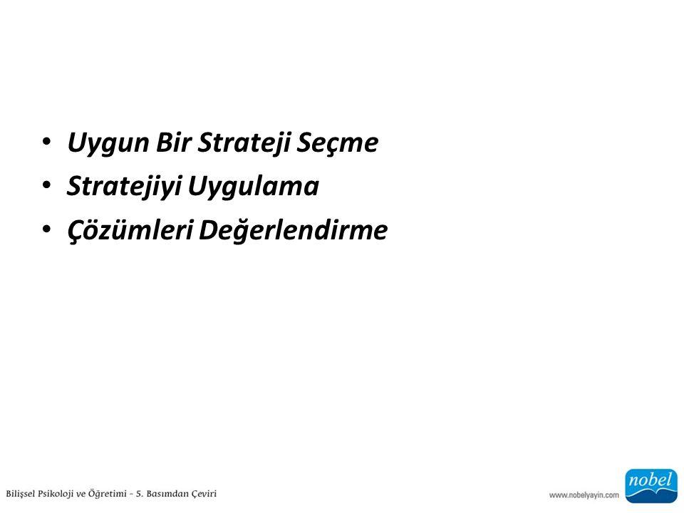 Uygun Bir Strateji Seçme Stratejiyi Uygulama Çözümleri Değerlendirme