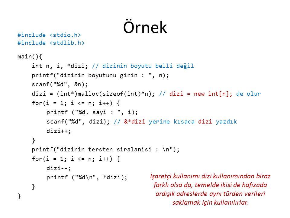 Örnek main(){ int n, i, *dizi; // dizinin boyutu belli değil printf( dizinin boyutunu girin : , n); scanf( %d , &n); dizi = (int*)malloc(sizeof(int)*n); // dizi = new int[n]; de olur for(i = 1; i <= n; i++) { printf ( %d.