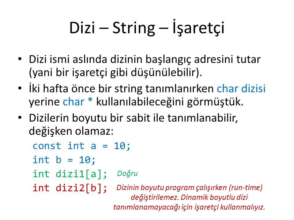 Dizi – String – İşaretçi Dizi ismi aslında dizinin başlangıç adresini tutar (yani bir işaretçi gibi düşünülebilir).