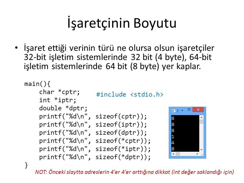İşaretçinin Boyutu İşaret ettiği verinin türü ne olursa olsun işaretçiler 32-bit işletim sistemlerinde 32 bit (4 byte), 64-bit işletim sistemlerinde 64 bit (8 byte) yer kaplar.