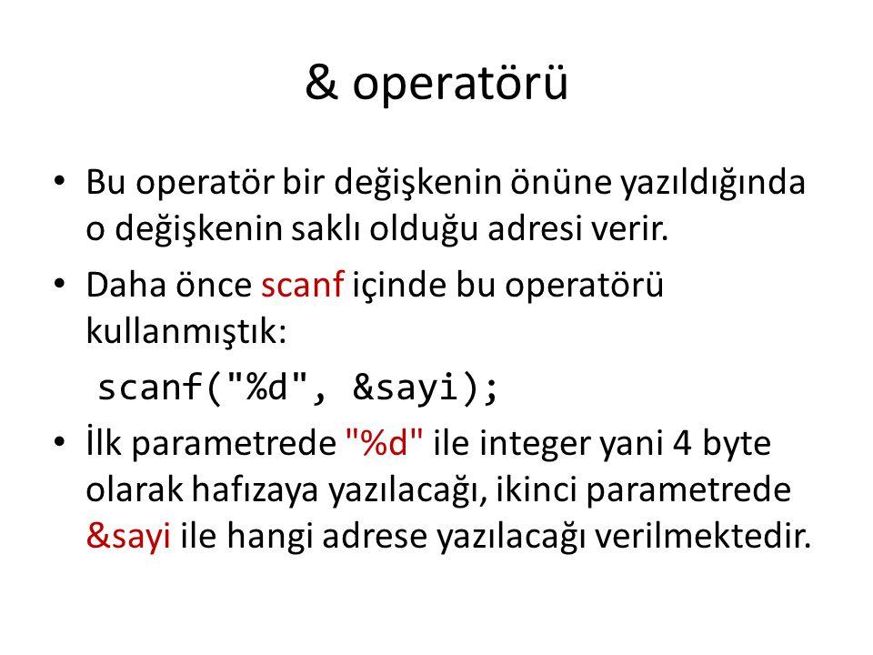 & operatörü Bu operatör bir değişkenin önüne yazıldığında o değişkenin saklı olduğu adresi verir.