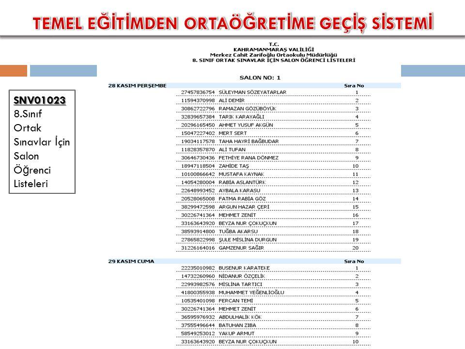 SNV01023 SNV01023 8.Sınıf Ortak Sınavlar İ çin Salon Ö ğ renci Listeleri