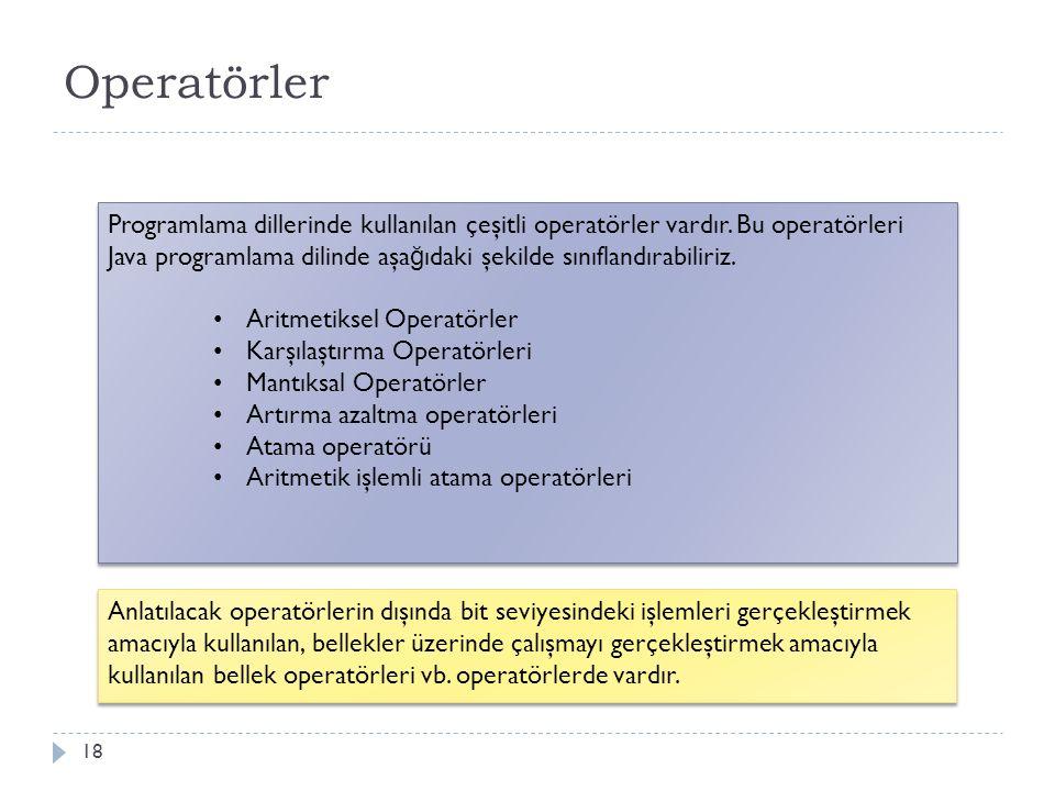 Aritmetiksel Operatörler Operatörleri kullanarak aritmetiksel işlem yapabilir 19 Operatör İ şlem +Toplama işlemi İ ki sayısal de ğ erin toplamını hesaplar -Çıkarma işlemi İ ki sayısal de ğ erin farkını hesaplar *Çarpma işlemi İ ki sayının çarpını hesaplar /Bölme işlemi İ ki sayının bölümünü hesaplar % Kalanlı bölme işlemi İ ki sayının bölümündeki kalan de ğ eri hesaplar ( ) Öncelik sırası belirleme Verilen aritmetiksel işlemler içerisinde öncelik sırası belirler