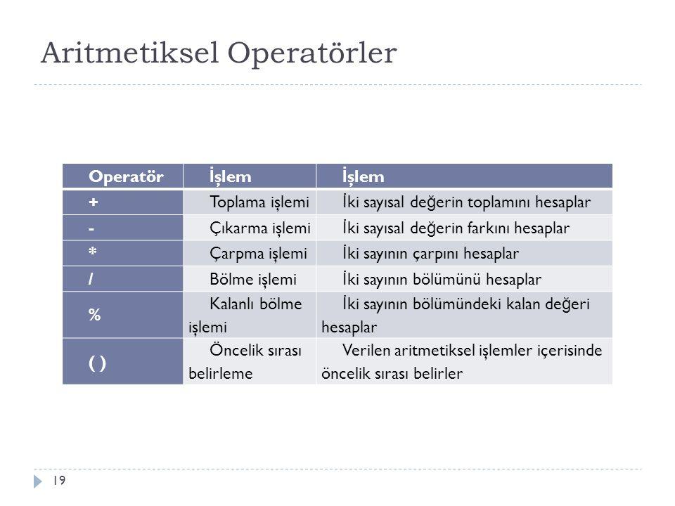 Aritmetiksel Operatörler Operatörleri kullanarak aritmetiksel işlem yapabilir 20 Matematiksel İ şlem Program içerisindeki yazım 2+4*2/4 Program ortamına aktarırken kesirli ifadeler bölüm işlemi ile gerçekleştirilir.