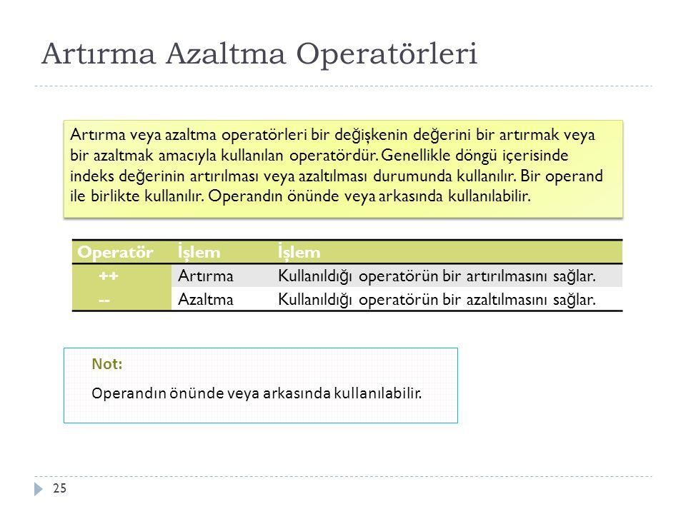 Atama Operatörü 26 C programlama dilinde hesaplanan de ğ erleri de ğ işkenlere atamak amacıyla kullanılan operatör = sembolü ile gösterilir.