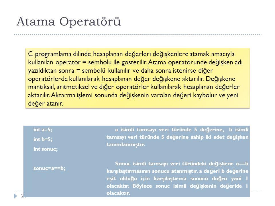 Aritmetik İşlemli Atama Operatörleri 27 Daha önceki bölümlerde aritmetik işlemlerde kullanılan operatörleri ve atama işleminde kullanılan operatörü görmüştük.
