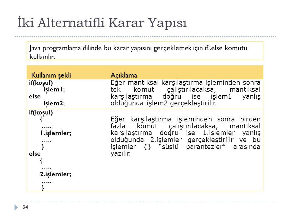 İki Alternatifli Karar Yapısı 35 Örne ğ in; ö ğ rencilerin dersi geçip geçmediklerini kontrol etmek için bir karar komutu kullanılabilir.