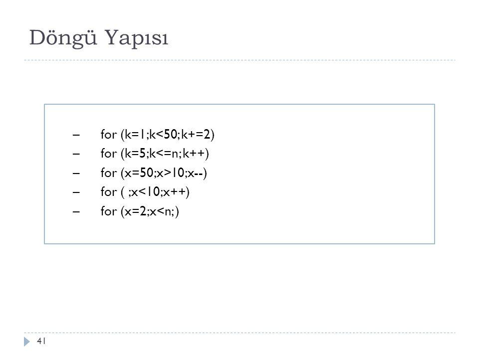 Koşulun başta olduğu 42 Java programlama dilinde koşulun başta kontrol edildi ğ i döngü yapısı için while döngüsü kullanılır.