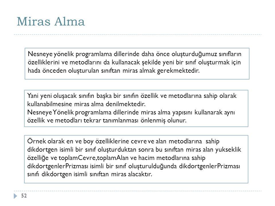 Miras Alma 53 Java'da bir sınıfın di ğ er bir sınıftan miras alabilmesi için tanımlama sırasında extends anahtar kelimesinin kullanılması gerekmektedir.