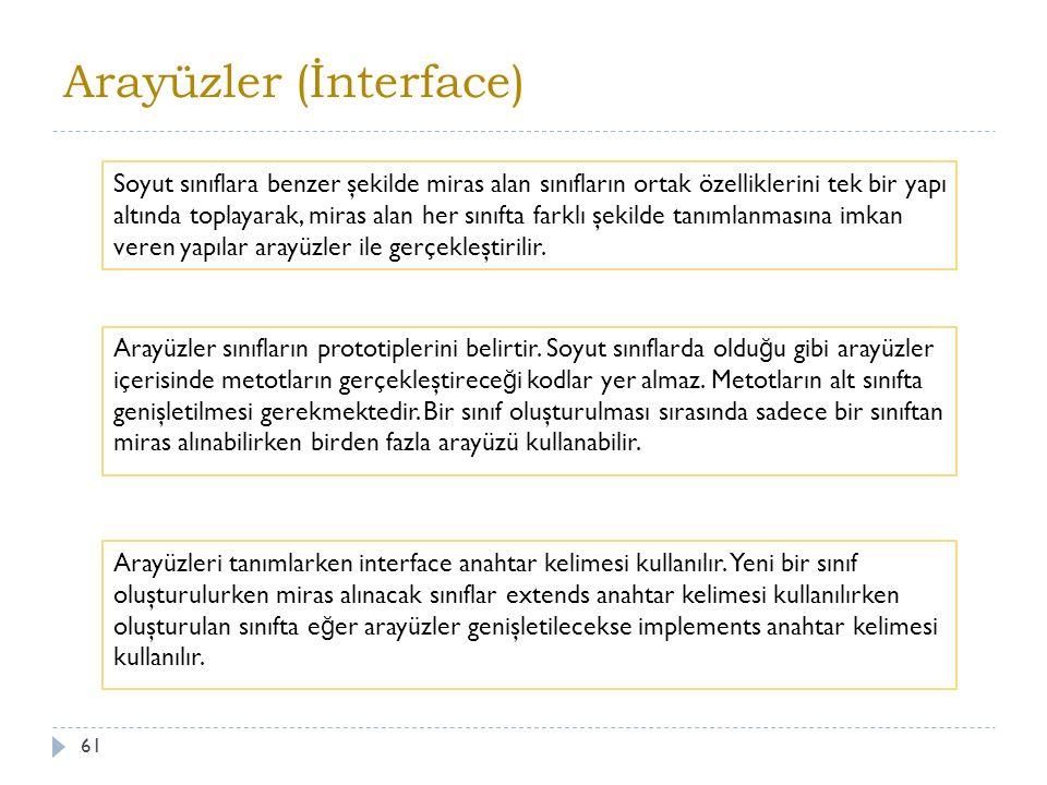 Kullanımı 62 interface arayüz adı { Özellikler ve sınıflar }