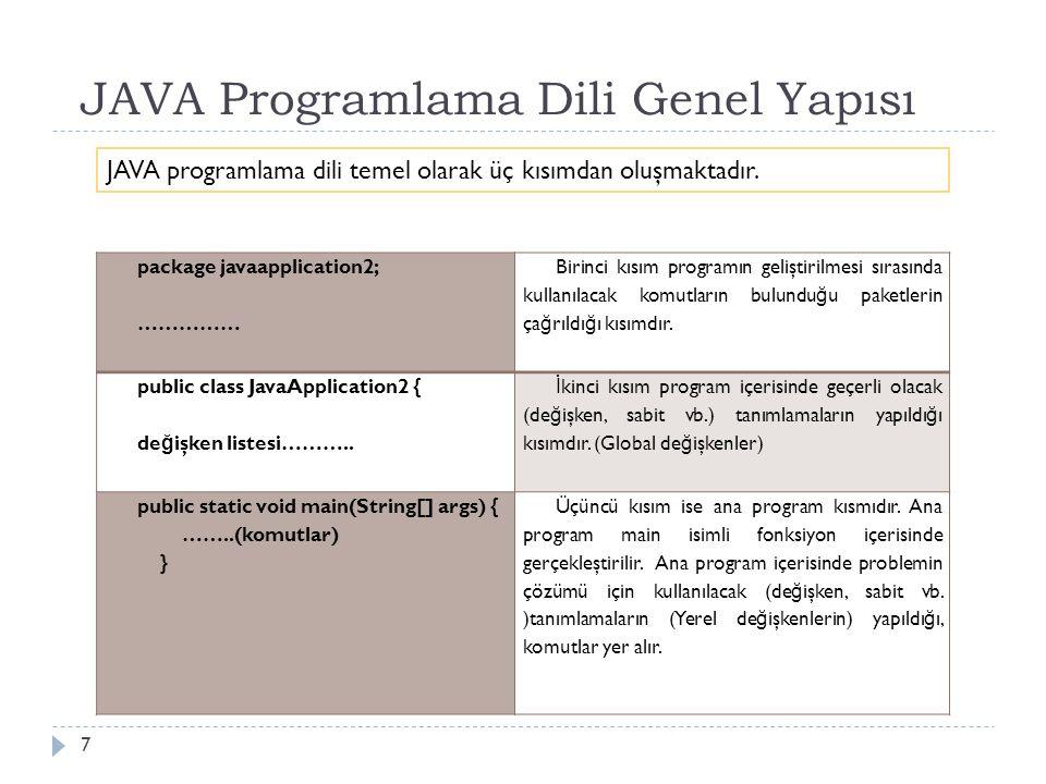 Akış diyagramı oluşturabilir 8 JAVA Programlama Dili Genel Yapısı Her Java programında mutlaka bir adet main fonksiyonu bulunmalıdır.