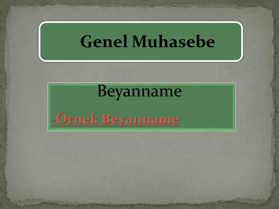 Genel Muhasebe Beyanname -Örnek Beyanname -Örnek Beyanname