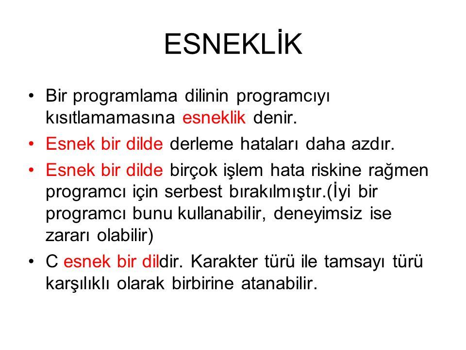 ESNEKLİK Bir programlama dilinin programcıyı kısıtlamamasına esneklik denir.