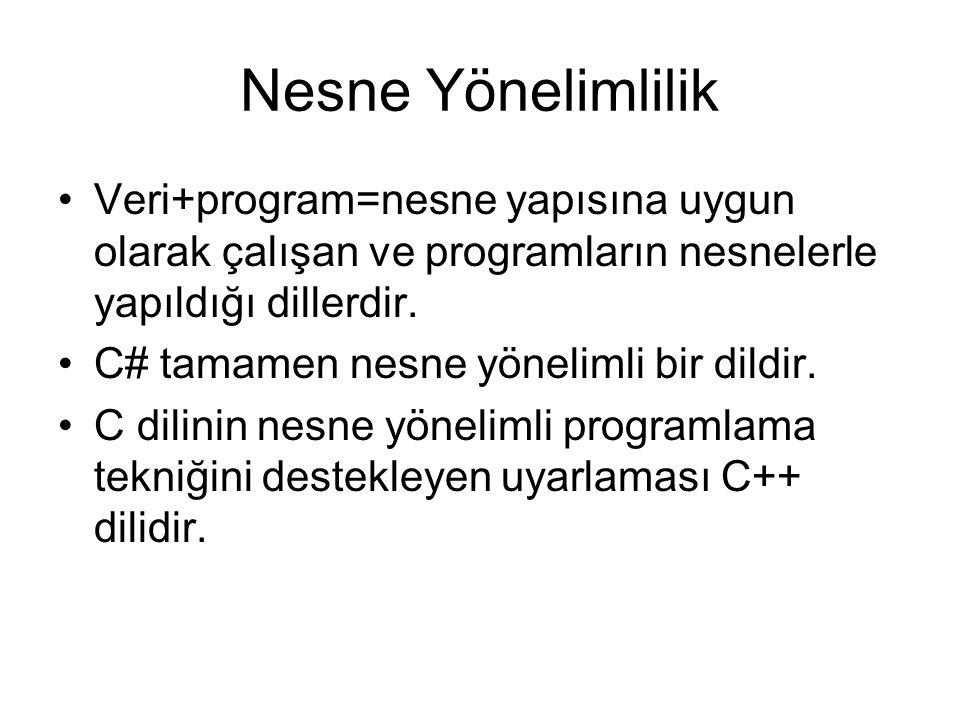 Nesne Yönelimlilik Veri+program=nesne yapısına uygun olarak çalışan ve programların nesnelerle yapıldığı dillerdir.