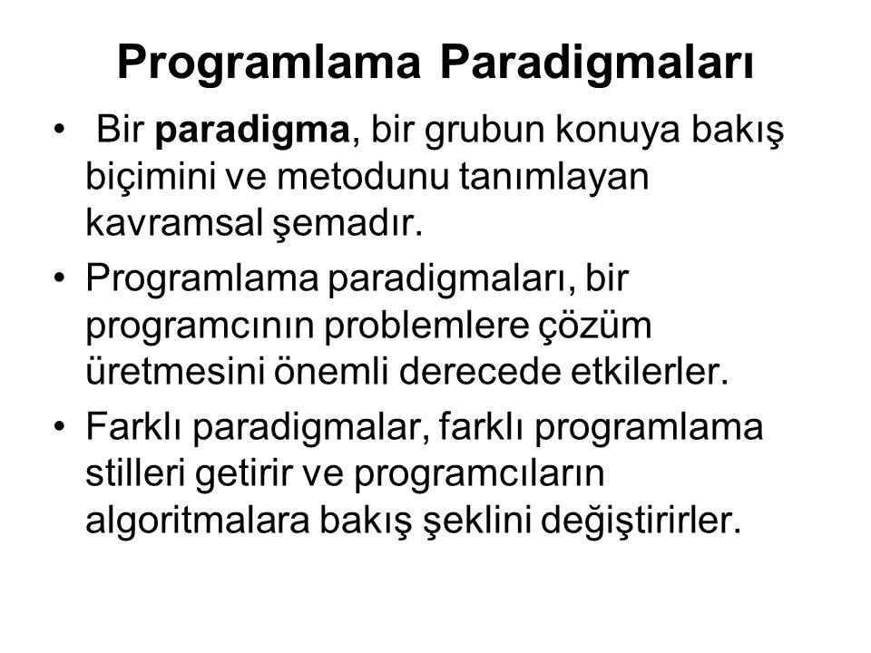 Programlama Paradigmaları Bir paradigma, bir grubun konuya bakış biçimini ve metodunu tanımlayan kavramsal şemadır.