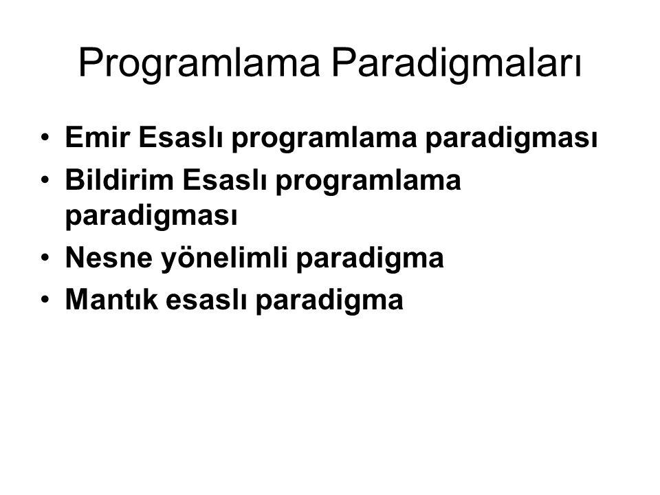 Programlama Paradigmaları Emir Esaslı programlama paradigması Bildirim Esaslı programlama paradigması Nesne yönelimli paradigma Mantık esaslı paradigma