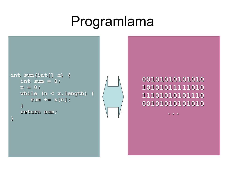 Programlama int sum(int[] x) { int sum = 0; int sum = 0; n = 0; n = 0; while (n < x.length) { while (n < x.length) { sum += x[n]; sum += x[n]; } return sum; return sum;}00101010101010101010111110101110101010111000101010101010...